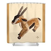 Cuddly Gazelle Watercolor Shower Curtain