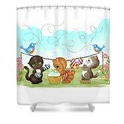 Kittens Washing Mittens Shower Curtain