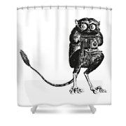 Tarsier With Vintage Camera Shower Curtain