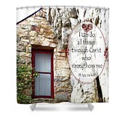 With Me - Verse And Heart Shower Curtain