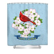 North Carolina State Bird And Flower Shower Curtain by Crista Forest