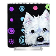 Kiniart Disco Westie Shower Curtain