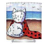 Kiniart Beach Blanket Westie Shower Curtain