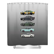 Stack Of Mazda Savanna Gt Rx-3 Coupes Shower Curtain