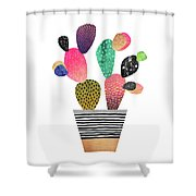 Happy Cactus Shower Curtain by Elisabeth Fredriksson
