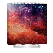 Planetary Soul Violet Shower Curtain