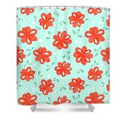 Cheerful Red Flowers Shower Curtain
