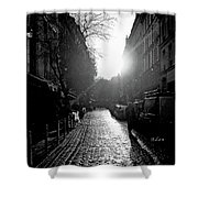 Evening Walk In Paris Bw Shower Curtain