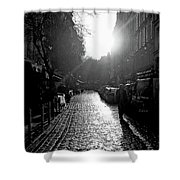Evening Walk In Paris Bw Squared Shower Curtain