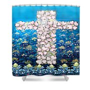 Cross Of Flowers Shower Curtain