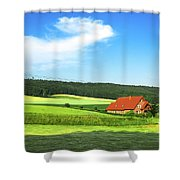 Red House In Field - Amshausen, Germany Shower Curtain