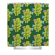 Cute Bugs Eat Green Leaf Shower Curtain