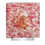 Peony Angel Shower Curtain by Anne Geddes