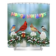 Christmas Birds And Garland Shower Curtain by Crista Forest