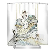 The Princess And The Pea, Illustration For Classic Fairy Tale Shower Curtain
