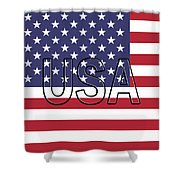 Usa On The American Flag Shower Curtain