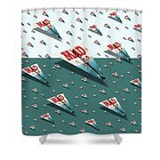 180 Mad Paper Airplanes Shower Curtain