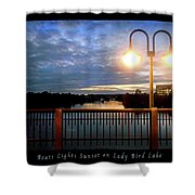 Boat, Lights, Sunset On Lady Bird Lake Shower Curtain