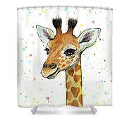 Baby Giraffe Watercolor With Heart Shaped Spots Shower Curtain
