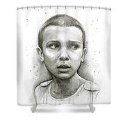 Stranger Things Eleven Upside Down Art Portrait Shower Curtain