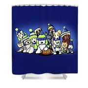 12 Dogs On Blue Shower Curtain
