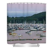Sunrise Over Mallets Bay Panorama - Two Shower Curtain