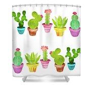 Cactus Plants In Pretty Pots Shower Curtain