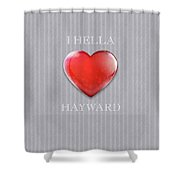 I Hella Love Hayward Ruby Red Heart On Gray Flannel Shower Curtain
