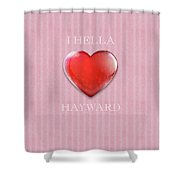 I Hella Love Hayward Ruby Red Heart On Pink Flannel Shower Curtain