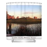 Birds And Fun At Butler Park Austin - Silhouettes 1 Poster And Greeting Card Shower Curtain