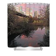 Austin Hike And Bike Trail - Train Trestle 1 Sunset Triptych Right Shower Curtain