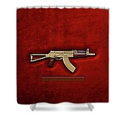 Gold A K S-74 U Assault Rifle With 5.45x39 Rounds Over Red Velvet   Shower Curtain by Serge Averbukh