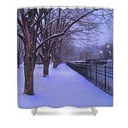 Evening Snow Path At Waterfront Park Burlington Vermont Shower Curtain