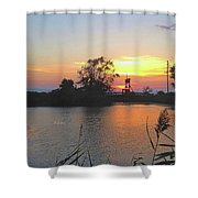 Sunset West Of Myers Bagels Vertical Shower Curtain