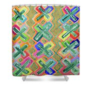 Colorful X-pattern  Shower Curtain