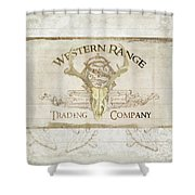 Western Range 3 Old West Deer Skull Wooden Sign Trading Company Shower Curtain
