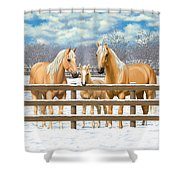 Palomino Quarter Horses In Snow Shower Curtain by Crista Forest