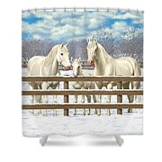 White Quarter Horses In Snow Shower Curtain by Crista Forest