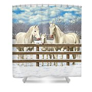 White Quarter Horses In Snow Shower Curtain