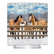 Buckskin Quarter Horses In Snow Shower Curtain by Crista Forest