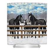 Black Quarter Horses In Snow Shower Curtain