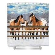 Buckskin Appaloosa Horses In Snow Shower Curtain by Crista Forest