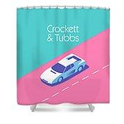 Miami Vice Crockett Tubbs - Aqua Shower Curtain