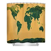Big Abstract World Map  Shower Curtain