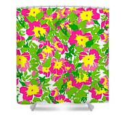 Vector Round Frame Isolated With Summer Flowers In Vintage Style Shower Curtain