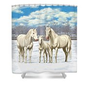 White Horses In Winter Pasture Shower Curtain