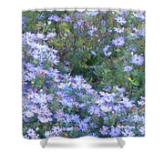 White Blue Cluster Shower Curtain
