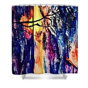 Indian Summer Watercolour Framed Handmade Painting Shower Curtain