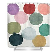 Colorful Circles Abstract Watercolor Shower Curtain