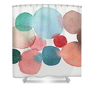 Teal And Coral Abstract Watercolor  Shower Curtain